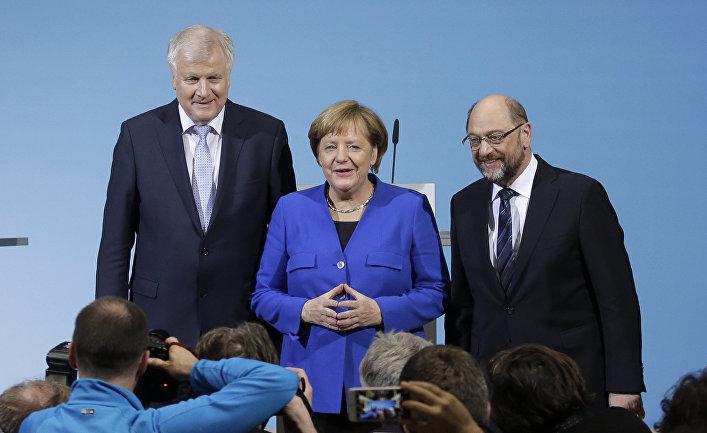 Канцлер Германии Ангела Меркель, Хорст Зеехофер и Мартин Шульц
