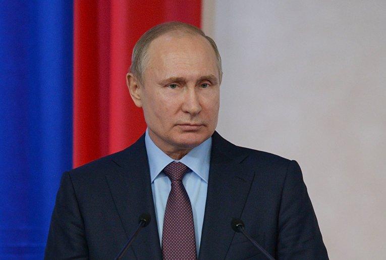 Президент РФ Владимир Путин выступает на пленарном заседании Всероссийского форума сельхозпроизводителей в Краснодаре. 12 марта 2018