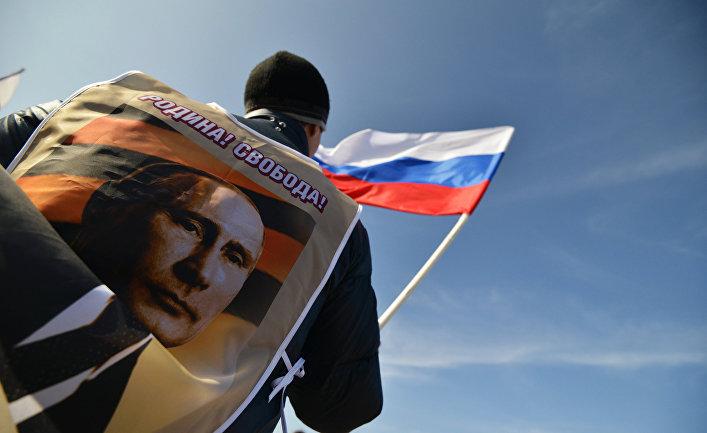 Участник митинга в Ставрополе