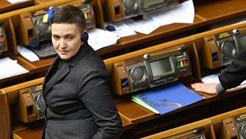 Надежда Савченко на заседании Верховной рады Украины