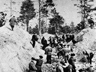 Раскопки захоронения жертв Катынского расстрела, 1943