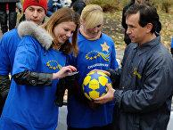 Акция «Украина принимает европейскую эстафету» послучаю имплементации Соглашения обассоциации между Украиной иЕС.