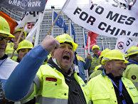 Акция протеста работников сталелитейной промышленности в Брюсселе