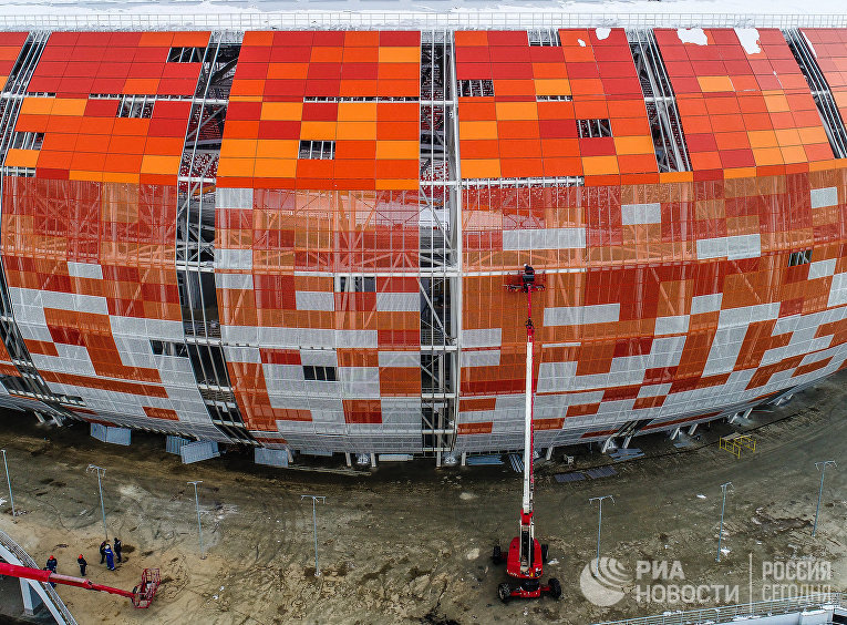 "Строительство стадиона ""Мордовия Арена"" в Саранске, где пройдут матчи чемпионата мира по футболу 2018"