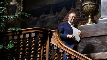 Посол РФ в Великобритании Александр Яковенко перед пресс-конференцией в Лондоне