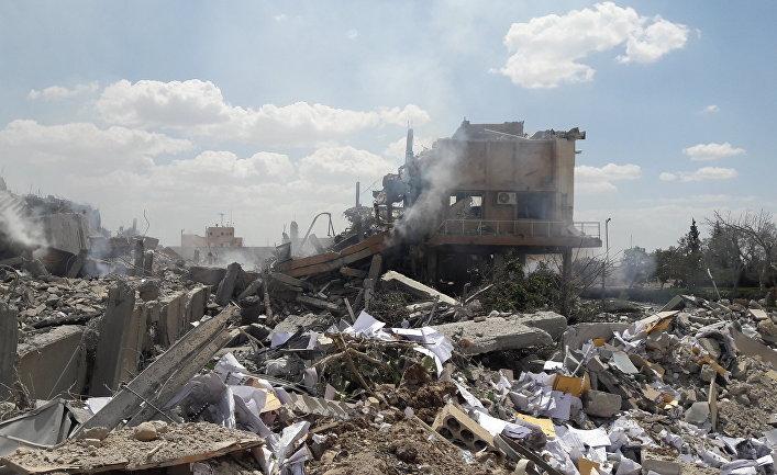 Разрушенный научно-исследовательский центр в Барзе. 14 апреля 2018