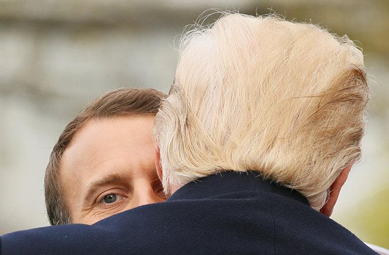 Президент США Дональд Трамп и президент Франции Эммануэль Макрон
