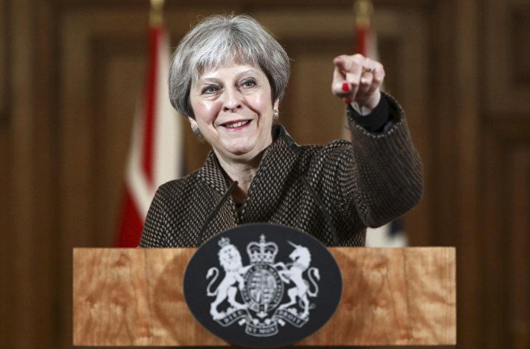 Премьер-министр Великобритании Тереза Мэй во время выступления на пресс-конференции в Лондоне. 14 апреля 2018