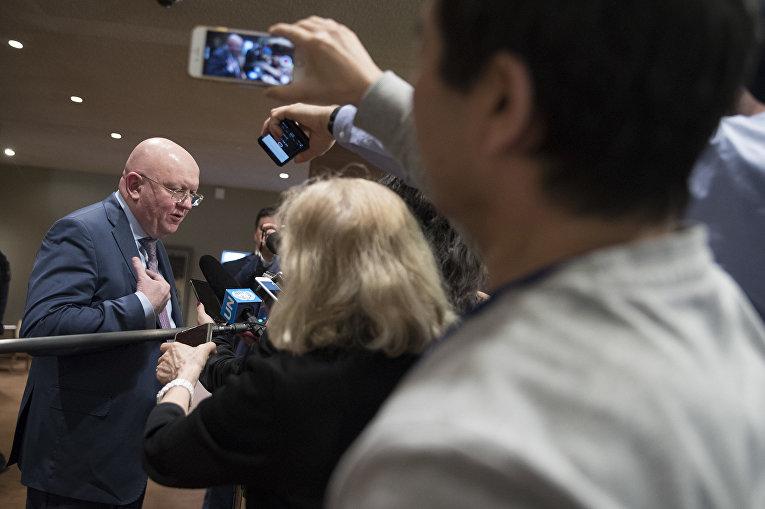 Постоянный представитель России при ООН Василий Небензя на заседании Совета безопасности ООН по Северной Корее. 15 декабря 2017