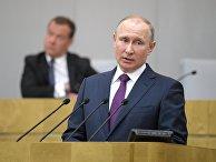 Президент РФ Владимир Путин во время пленарного заседания Государственной Думы РФ