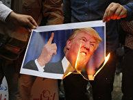 Иранцы сжигают изображение президента США Дональда Трампа