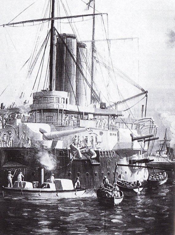 Британский парусный линейный корабль St. George во время англо-занзибарской войны 1896 года