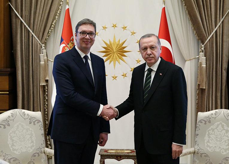 Президент Турции Тайип Эрдоган и президент Сербии Александр Вучич