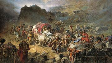 Оставление горцами аула при приближении русских войск