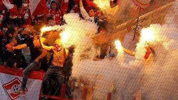 Болельщики «Спартака» на стадионе «Локомотив» в Москве