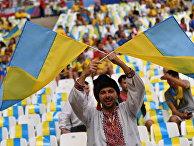 Украинский болельщик перед матчем группового этапа чемпионата Европы по футболу - 2016 между сборными командами Украины и Польши.