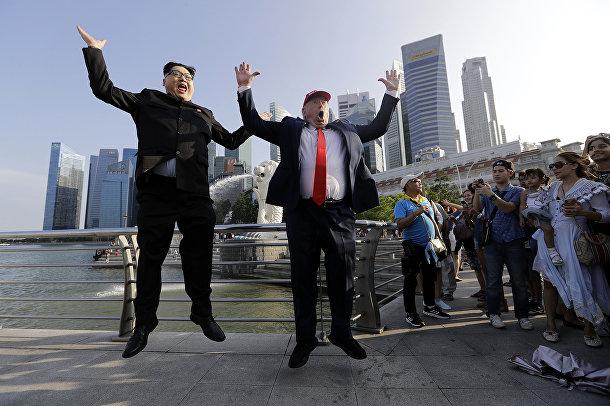 Двойники Ким Чен Ына и Дональда Трампа в Сингапуре