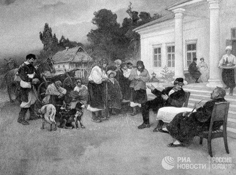 """""""Крепостных крестьян меняют на собак"""". Картина И.С. Ижакевича (1864 - 1962 гг.)"""