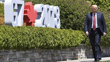 Президент США Дональд Трамп на саммите G7 в Ла Мальбе. 8 июня 2018 года