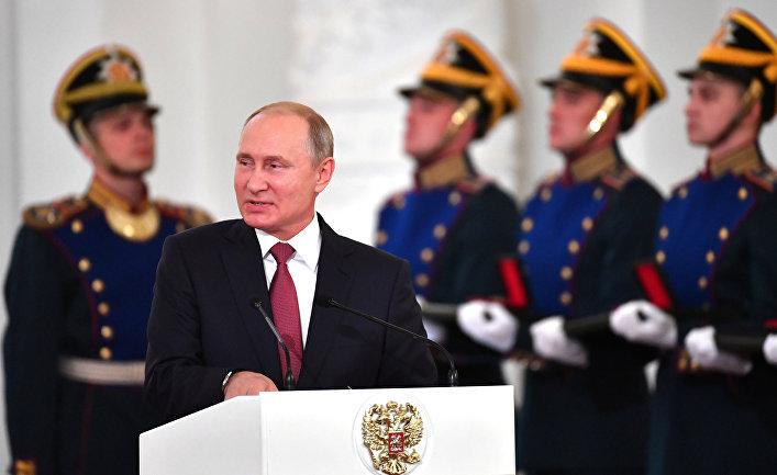 Президент России Владимир Путин выступает в Кремле