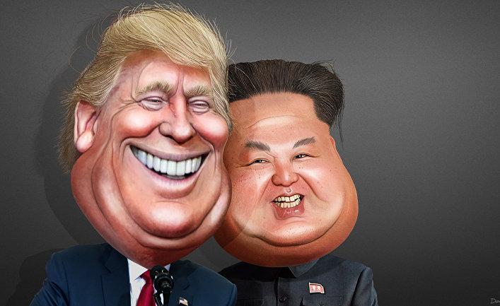 Каррикатура на президента США Дональда Трампа и председателя КНДР Ким Чен Ына