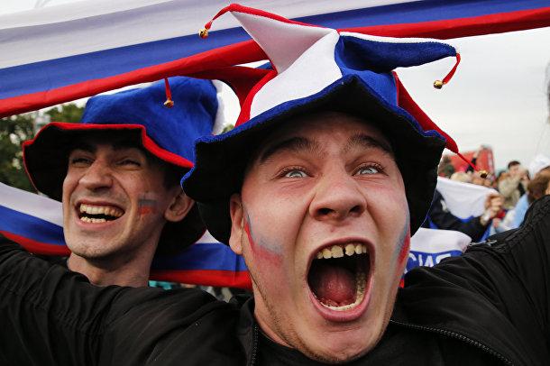 Российские радуются победе