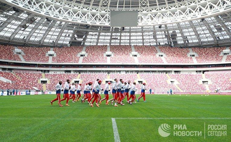 Игроки сборной России на тренировке