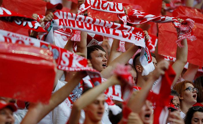 Польские болельщики во время матча