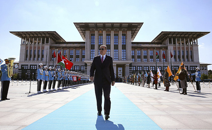Президент Турции Реджеп Тайип Эрдоган в президентском дворце в Анкаре