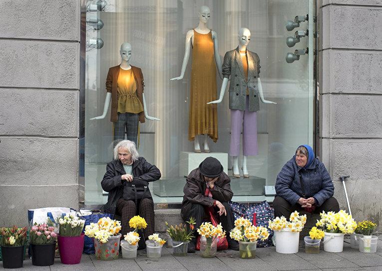 енщины продают цветы на проспекте Гедиминаса в Вильнюсе, Литва