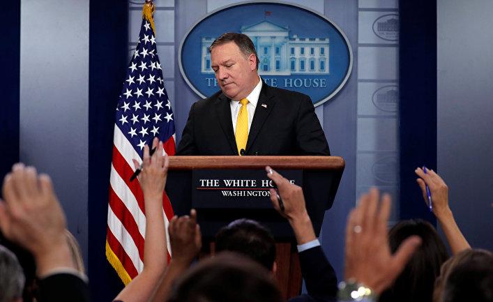 Госсекретарь США Майк Помпео на ежедневном брифинге в Белом доме в Вашингтоне