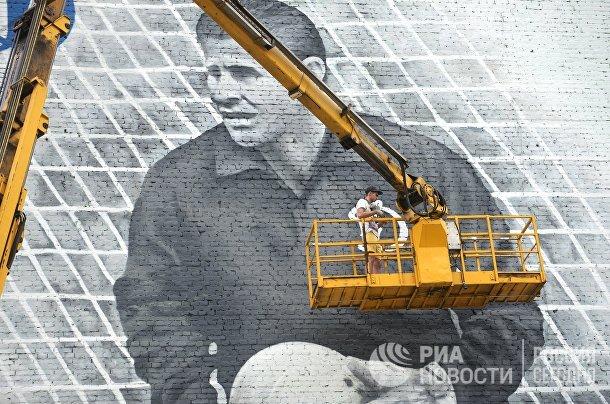 Граффити с изображением вратаря Льва Яшина