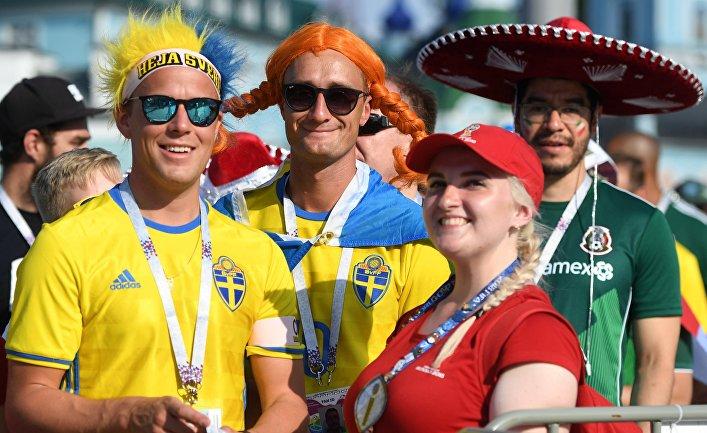 Болельщики перед матчем ЧМ-2018 по футболу между сборными Мексики и Швеции