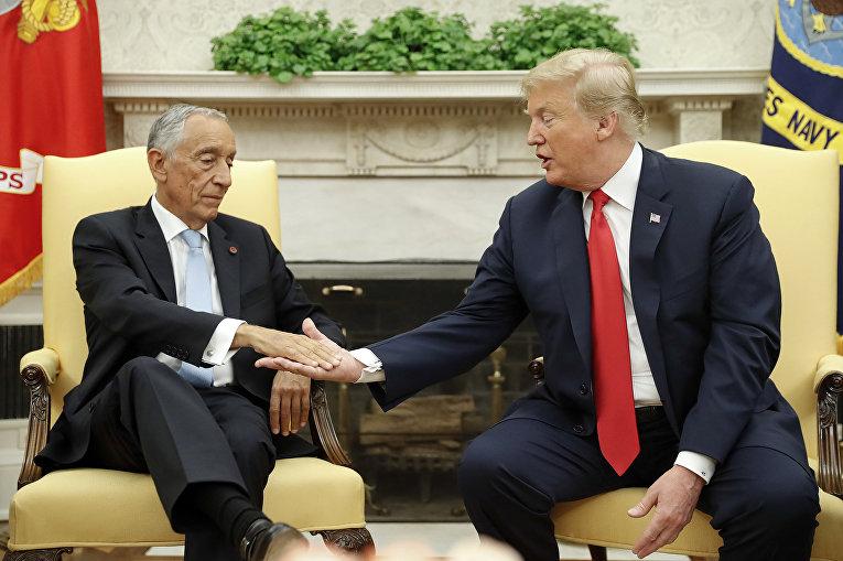Президент США Дональд Трамп и президент Португалии Марсело Ребело де Соуза