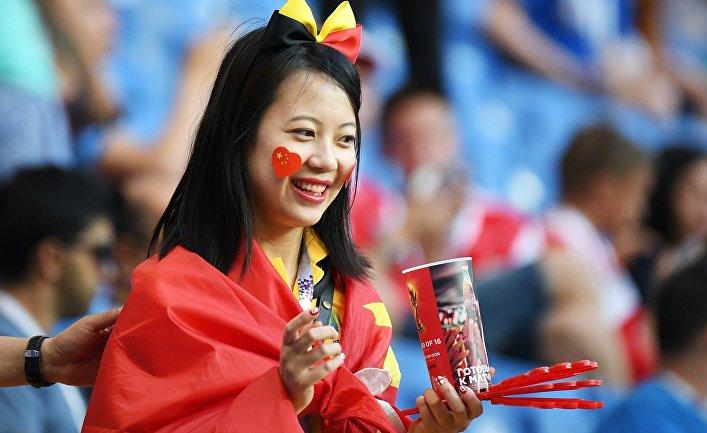 Китайская болельщица на Чемпионате мира по футболу