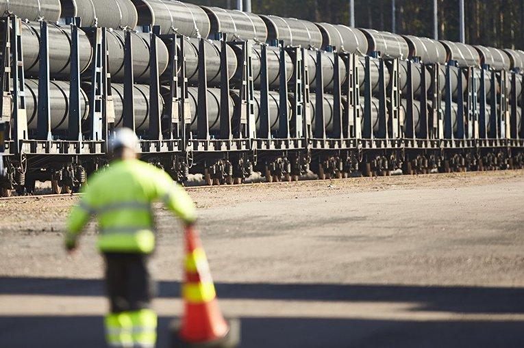 """Трубы для строительства трубопровода """"Северный поток - 2"""" в финском Котке"""