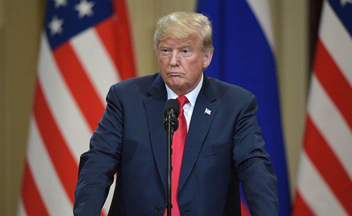 Президент США Дональд Трамп на совместной с президентом РФ Владимиром Путиным пресс-конференции по итогам встречи в Хельсинки. 16 июля 2018