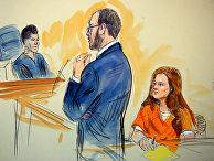 Рисунок заседания Федерального суда в Вашингтоне по делу Марии Бутиной