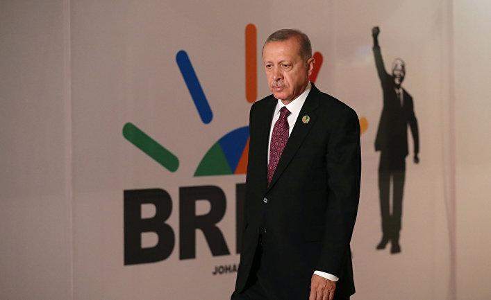 Президент Турции Тайип Эрдоган на саммите БРИКС в Йоханнесбурге