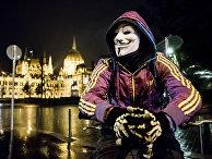 Участник акции протеста в Будапеште, Венгрия