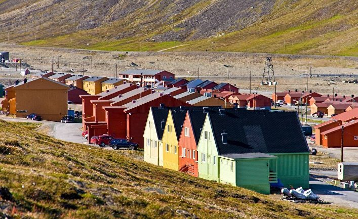 Город на острове Шпицберген Лонгйир, Норвегия