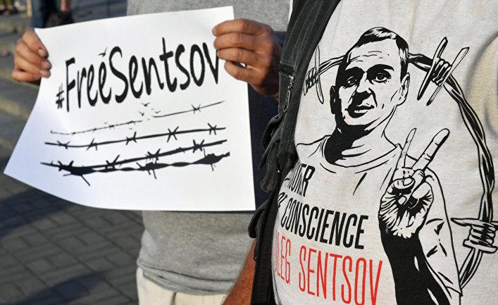 Митинг, посвященный дню рождению Олега Сенцова в Киеве