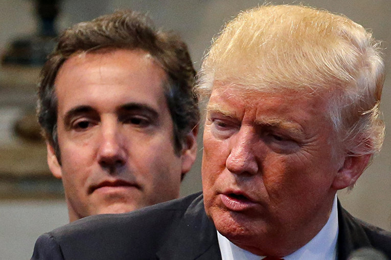 Кандидат в президенты от Республиканской партии Дональд Трамп и его личный адвокат Майкл Коэн