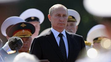Президент РФ Владимир Путин на праздновании Дня ВМФ России в Санкт-Петербурге