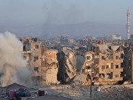 Штурм позиций боевиков террористической организации ИГ (организация запрещена в РФ) в районе бывшего лагеря палестинских беженцев Ярмук в южном пригороде Дамаска