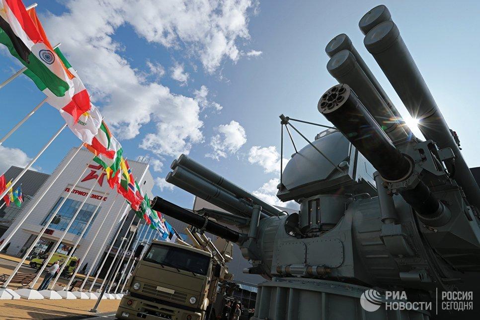 Зенитный ракетно-пушечный комплекс «Панцирь-МЕ» разработки АО «КБП» в экспозиции IV Международного военно-технического форума «Армия-2018» в конгрессно-выставочном центре «Патриот» в Кубинке