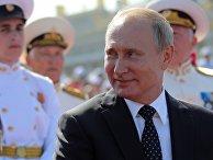 Президент РФ Владимир Путин на праздновании Дня ВМФ России в Санкт-Петербурге. 29 июля 2018