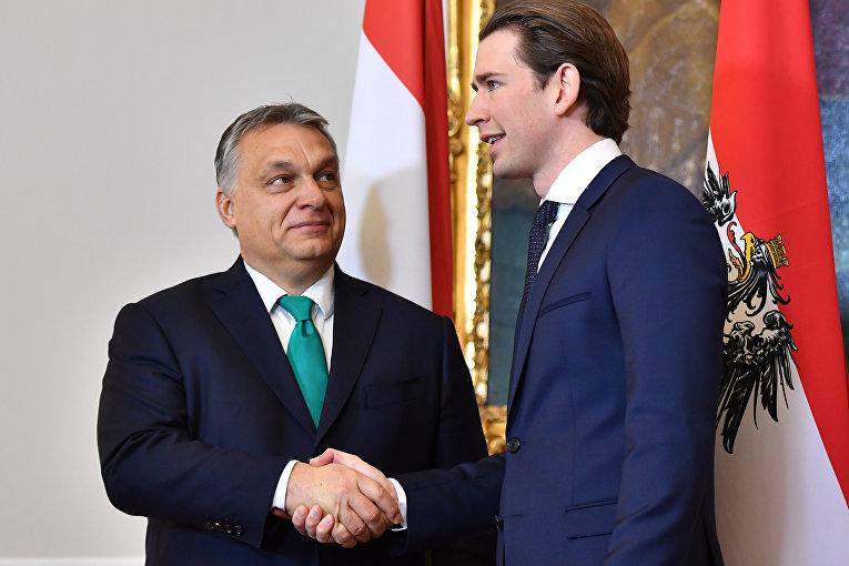Канцлер Австрии Себастьян Курц и премьер-министр Венгрии Виктор Орбан