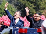 Президент Южной Кореи Мун Чжэ Ин и лидер Северной Кореи Ким Чен Ын