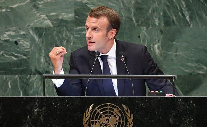 Президент Франции Эммануэль Макрон выступает на 73-й сессии Генеральной Ассамблеи Организации Объединенных Наций в штаб-квартире ООН в Нью-Йорке, США. 25 сентября 2018